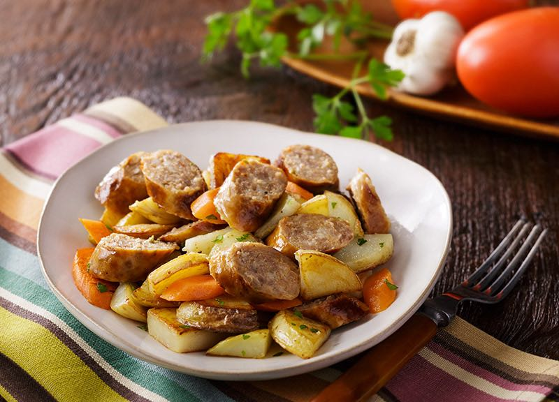 Grilled Sausage, Potato and Carrot Skillet