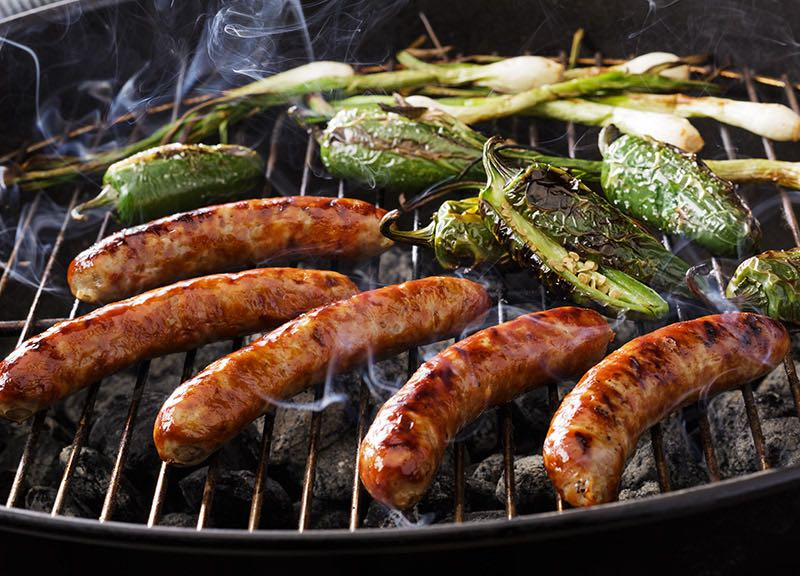 Grilled Sausages with Onions & Jalapeños